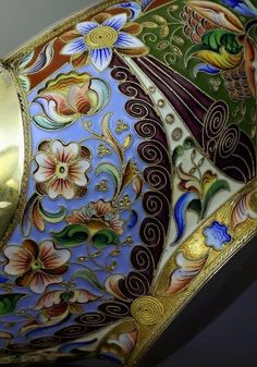 Superb Antique Russian Cloisonne Enamel Silver Kovsh - Antique Jewelry | Vintage Rings | Faberge Eggs