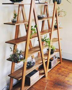 Kmart Industrial Ladder Shelf Indoor Vertical Garden Ideas - gardening - Home Woodworking Furniture, Woodworking Projects Plans, Diy Furniture, Fine Woodworking, Diy Wood Projects, Home Projects, Wooden Plant Stands, Diy Plant Stand, Diy Home Decor