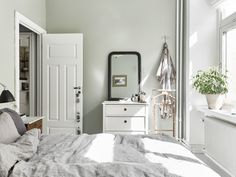 Trendy bedroom black and white grey apartment therapy Sage Bedroom, Bedroom Black, Bedroom Green, Bedroom Colors, Home Decor Bedroom, Bedroom Ideas, Bedroom Wall, Bedroom Furniture, Green Apartment