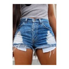 Mid Waist Zipper Fly Denim Shorts ($21) ❤ liked on Polyvore featuring shorts, bottoms, blue, pants, blue shorts, patterned shorts, zipper shorts, short jean shorts and denim shorts