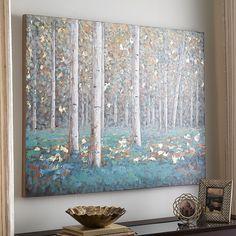 Teal Birch Trees Art