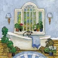 Pampered Bath I Canvas Art - Charlene Olson (24 x 24)