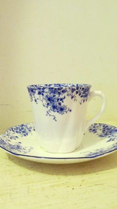 Shelley Dainty Blue Demitasse Cup & Saucer in Pottery & Glass | eBay