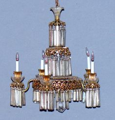 VINTAGE DOLLHOUSE LIGHTED CHANDELIER WITH CRYSTAL PENDANT AND CANDLE LIGHTS