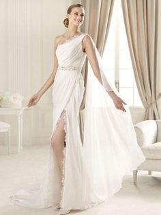 Sheath/Column One Shoulder Sweep Train  Chiffon Wedding Dress