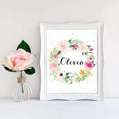 Nursery name print Baby girl name print Floral by WordsAndConfetti