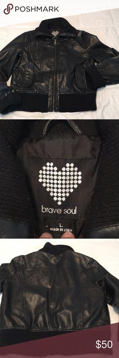 3743776872d Brave Soul black bomber jacket Faux leather bomber jacket - size L. Knit  collar