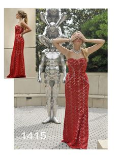 See no evil in this red Givenchy-esque strapless dress by House of Hems division of Attitude Couture.