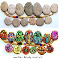 Gabis Welt :)'s Kreativ – Rock / Stone / Pebble Art images from the web – BuzzTMZ Dot Art Painting, Pebble Painting, Pebble Art, Stone Painting, Painted Rocks Owls, Owl Rocks, Painted Stones, Stone Crafts, Rock Crafts