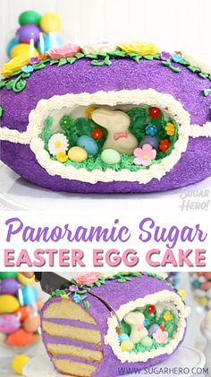 Sugar Easter Egg Cake Video , Looking for a knockout Easter cake? Try this Sugar Easter Egg Cake! The look is based on old-fashioned panoramic sugar eggs, but it's made out of CAKE! Panoramic Sugar Easter Eggs, Sugar Eggs For Easter, Cupcakes, Cupcake Cakes, Easter Cookies, Easter Treats, Easter Food, Easter Egg Cake Video, Easter Videos
