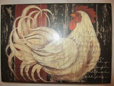 French Country Rooster Chicken Wood Plaque Tuscan Toile L Red Black White