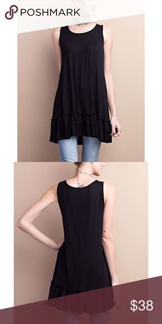 ✨CLOSING SALE✨Black Sleeveless Double Ruffle Tunic Black Sleeveless round neck. Soft heavy rayon/ spandex material. Loose fit flow tunic with double ruffle. 95% rayon, 5% spandex.   Fits true to size Fabfindz Tops Tunics