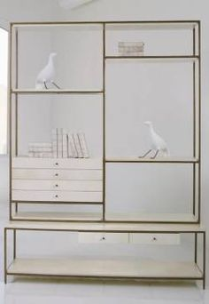 Harbor Vellum Bookcase with Frank Metal Frame Available in Ivory or Brown Vellum