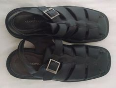 Kenneth Cole New York Mens Fisherman Sandals 15 Black Leather Made in Italy #KennethCole #Sandals