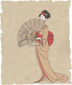 kimono japonais: Fille japonaise avec un ventilateur sur le vieux papier - illustration