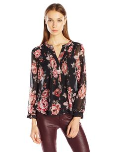 Joie Women's Meadows B Blouse, Caviar, S. Long sleeve. Floral.
