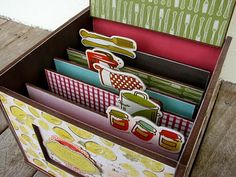 Organize your recipes with your own decorated recipe box!  Adhere cardstock onto chipboard to make sturdy separators.  For a cardstock all things kitchen, check out Jillibean Soup's Fresh Vegetable Soup Collection at www.cardstockshop.com.