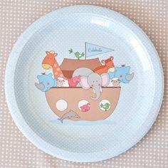 Noahs Ark Blue Lunch Plates