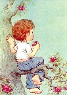 Boy in tree eating apples__Sarah Kay Sarah Key, Sarah Kay Imagenes, Vintage Cards, Vintage Postcards, Sweet Pic, Holly Hobbie, Cute Images, Cute Illustration, Vintage Pictures