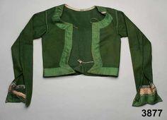Tröja i vadmal kantad med sidenband. Oxie, 1800-40. Nordiska Museet, nr. NM.0003877