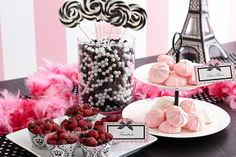 Paris Damask Snacks --Love the boa on the table again!  Also, the candy decorations are cute too!  (evite)