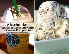 vanilla chocolate chip ice cream frappuccino Vanilla Bean Frappuccino Add Mocha Syrup (1 pump tall, 1.5 pumps grande, 2 pumps venti) Add java chips Top with whipped cream, cookie crumble and mocha drizzle
