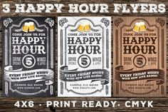 3 Vintage Happy Hour Flyers by Lucion Creative on @Graphicsauthor