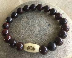 Clay Tree of Life Bead.Stretch Bracelet Unisex  Beaded Bracelet Simple Bracelet. Bloodstone Gemstone Bracelet Grounding and Centering