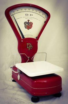 1957 Dutch D P Grocery Store Scale RedWeight Balance Avery Berkel Style RARE #DePa