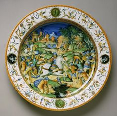 Philadelphia Museum of Art - Collections Object : Plate with the Sacrifice of Marcus Curtius. Second half 16th century, Circa 1560-1570 | Probably from the workshop of Guido Durantino, Italian, Urbino, or the workshop of Orazio Fontana, Italian, Urbino