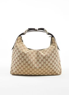 Beige and Brown Gucci Canvas and Leather Monogram Horsebit Shoulder Strap Hobo Bag