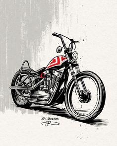 "Harlry-Davidson XLH ""Ironhead"" Sportster rigid chopper illustration by Adi Gilbert | Scotland"