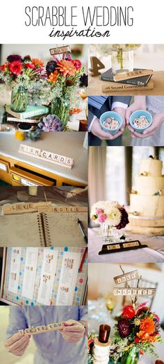 Scrabble wedding inspiration. I especially like the top left corner with the jars...my vision exactly!