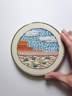 "Hand Embroidery | Original Embroidered Hoop Art | New Mexico Landscape | 5"" Small Wall Art by Erin Eggenburg of wrenbirdarts"