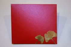 handmade envelope ... Asian theme ... red envelope from shimmery paper ... luv the gold embossed gingko leaves in the corner ...