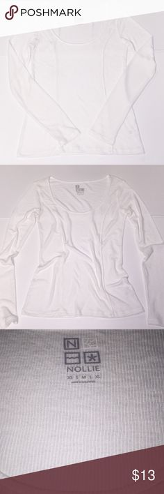 NOLLIE Light Weight long sleeve blouse SZ M lowest This is a white very comfy soft blouse in great condition. NOLLIE purchased from Pacsun SZ M. No lowball offers or Trades & I definitely consider offering half of my asking price a lowball offer. Thank you Nollie Tops Tees - Long Sleeve