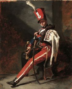 The Trumpeter of the Hussars of Orleans in Dress Uniform by Théodore GERICAULT (Rouen 1791 - Paris 1824)