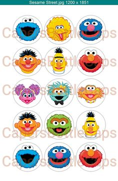 Sesame Street Characters 1 Bottle Cap Images by CapersBottleCaps