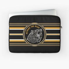 'Black And Gold Beware The Bear' Laptop Sleeve by HavenDesign Laptop Sleeves, I Shop, Zip Around Wallet, Bear, Gold, Stuff To Buy, Shopping, Bears, Yellow