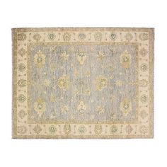 "9'1""x12'3"" Oushak Bota Rug Beige/Blue Area Rugs (38.945.550 IDR) ❤ liked on Polyvore featuring home, rugs, oushak rugs, floral rug, handmade rugs, off white area rug and ivory rugs"