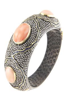 14K yellow gold and silver pave diamond accented bezel set pink coral and blue sapphire bangle bracelet
