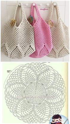 Crochet Market Bag, Crochet Tote, Crochet Handbags, Crochet Purses, Love Crochet, Crochet Crafts, Crochet Projects, Crochet Granny, Filet Crochet