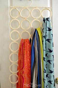 Ikea Scrarf Hanger organization 5 Ways to Organize Scarves - Ikea, Scarf Organization, Organizing Belts, Organising, Coat Hanger Hooks, Curtain Tie Back Hooks, Smart Closet, Space Saving Hangers, Scarf Storage