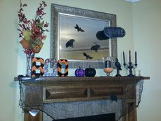 Mantle halloween decor