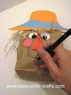 48 Awesome Fall Crafts for Kids Fall Crafts for Kids - Paper Bag Scarecrow Kids Crafts, Daycare Crafts, Fall Crafts For Kids, Classroom Crafts, Preschool Crafts, Art For Kids, Arts And Crafts, Harvest Crafts For Kids, Kid Art