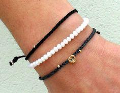Tiny skull bracelet  16 k gold plated skull bead by Beadstheater, $13.50