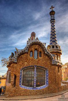 House in Park Güell designed by Antoni Gaudi, Barcelona, Spain