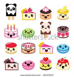 Cute Kawaii dessert - cake, macaroon, ice-cream, cheesecake, pannacotta icons