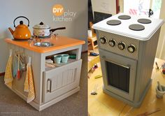Play kitchen from repurposed cabinets Kids Wooden Kitchen, Diy Play Kitchen, Mini Kitchen, Diy Kitchens, Chalet Chic, Diy Outdoor Furniture, Upcycled Furniture, Toy Cooker, Oven Cabinet