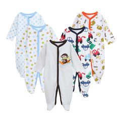 5 Pcs/set tender Babies Spring Autumn baby boy clothes  infantil Pajamas Cotton Newborn rompers winter Long Sleeve baby overalls